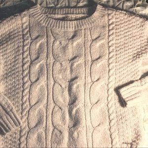 Hollister braided knit off white sweater